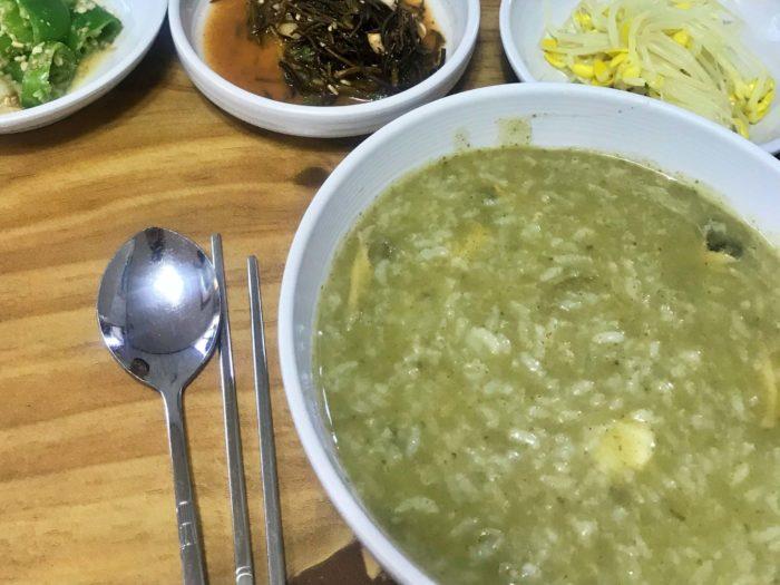 緑一色のあわびのお粥
