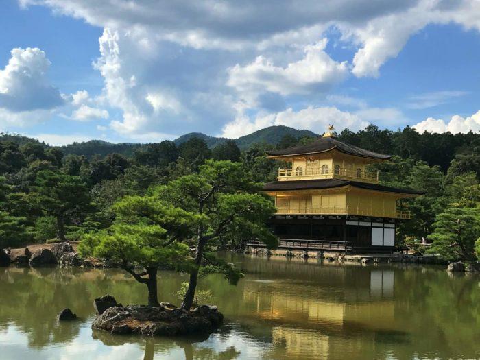 池にも反射する金閣寺