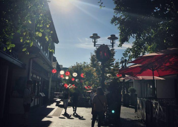 紅白の提灯がぶら下がる日本村の通り