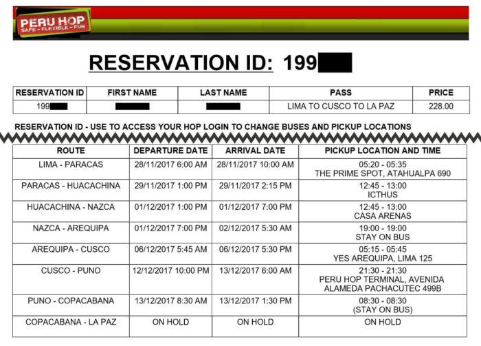 PERUHOPの日程表