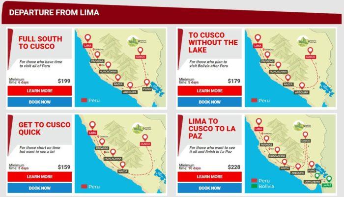 リマからラパス方面に向かう4つのルート