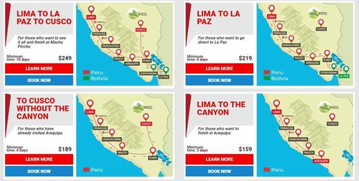 リマからラパス方面に向かう4つのルート2