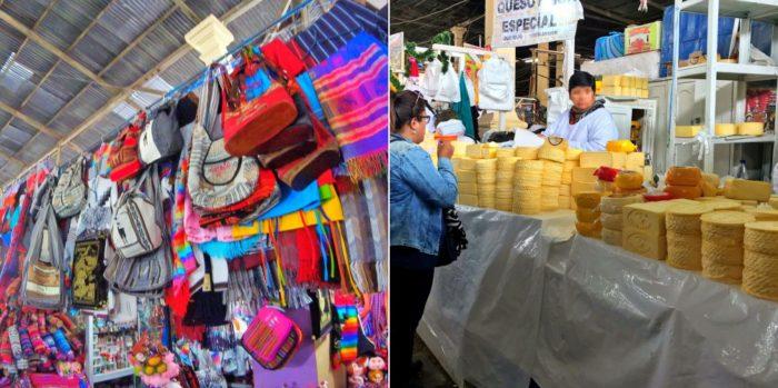 色とりどりのバッグと塊のチーズ