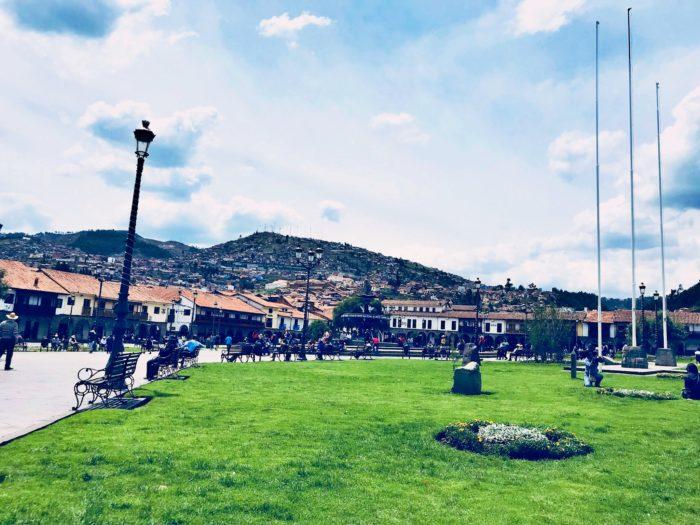 緑の芝生と開けた広場