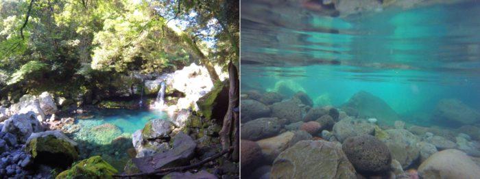 透き通った秘境の滝