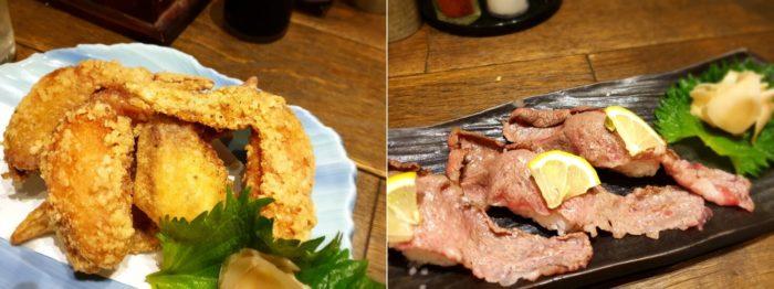 肉厚の手羽先とはみ出る程でかい宮崎牛のお寿司