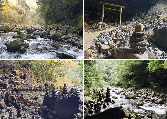 天安河原 積まれた石