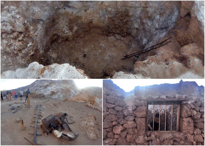 石でできた簡易小屋や発掘道具