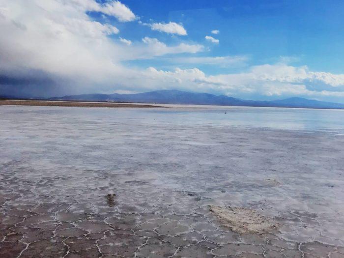 バス内からの塩湖