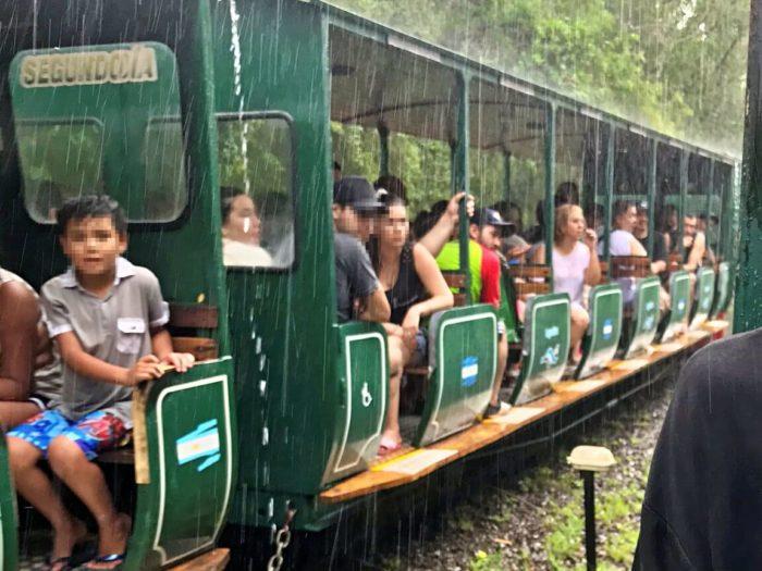 緑色のトロッコ列車