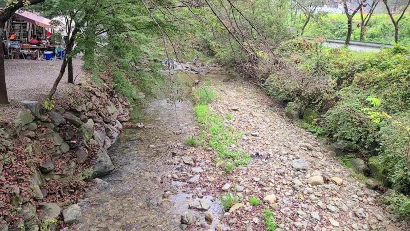 キャンプ場横の小川