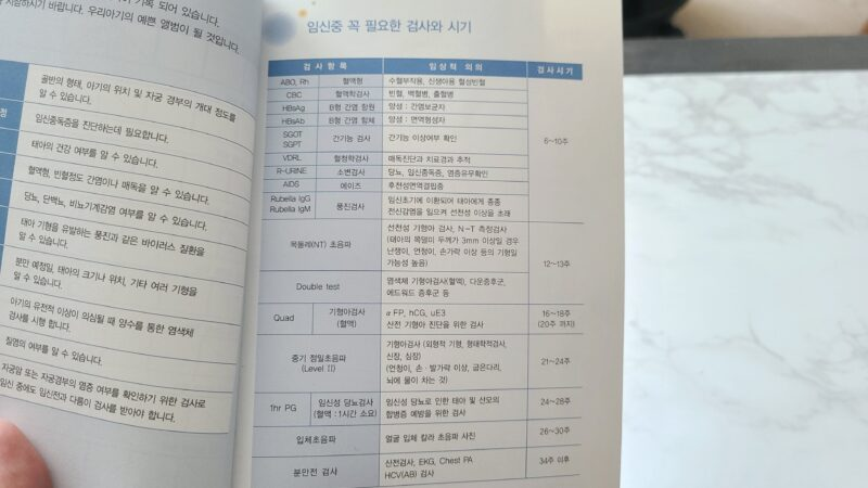 韓国の母子手帳 検査項目